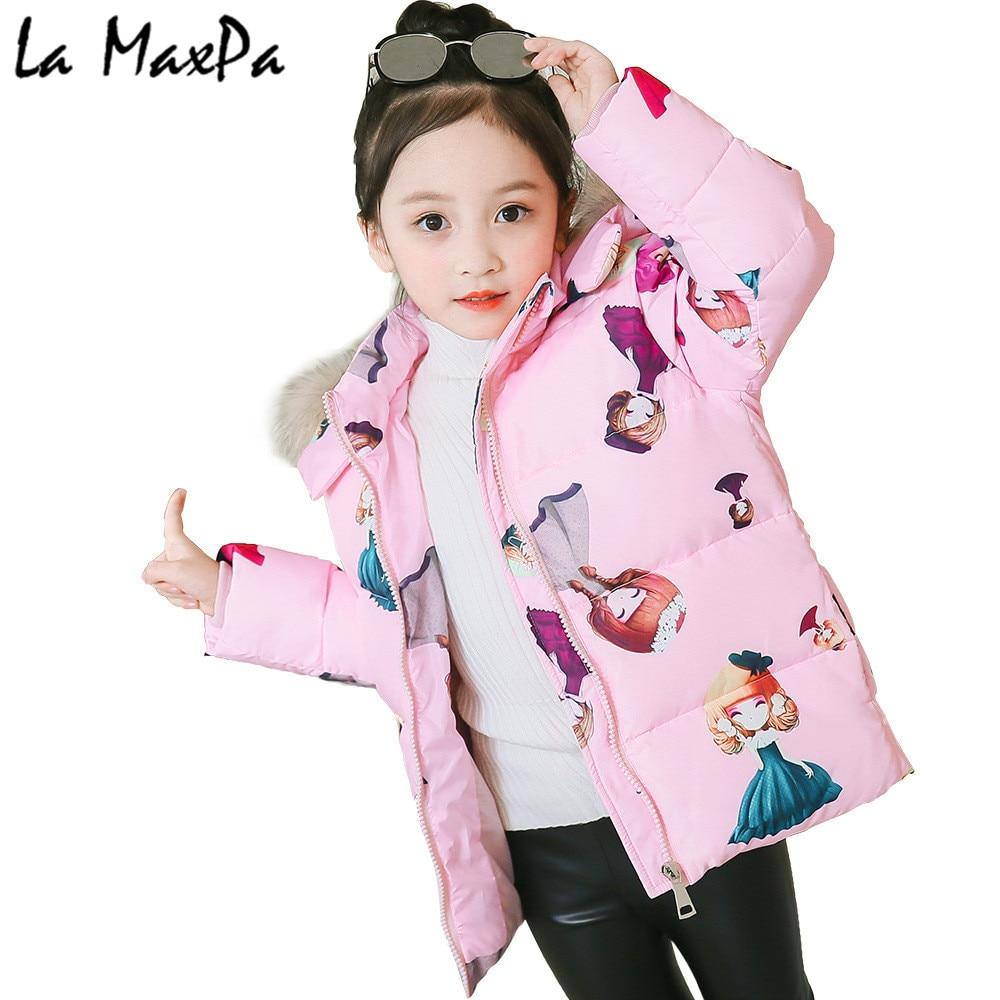 girls winter jacket Korean 3-6 years old girls down coats girl winter fur collar children's parkas hot Flower print hooded цена 2017