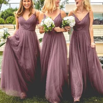 superkimjo bridesmaid dresses v neck pleats cheap long tulle maid of honor dresses gowns 2019