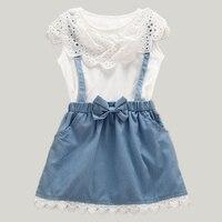 Summer Children Girls Cotton Denim Sundress Kids CWhite And Blue Patchwork Dress For Child 3T 7T