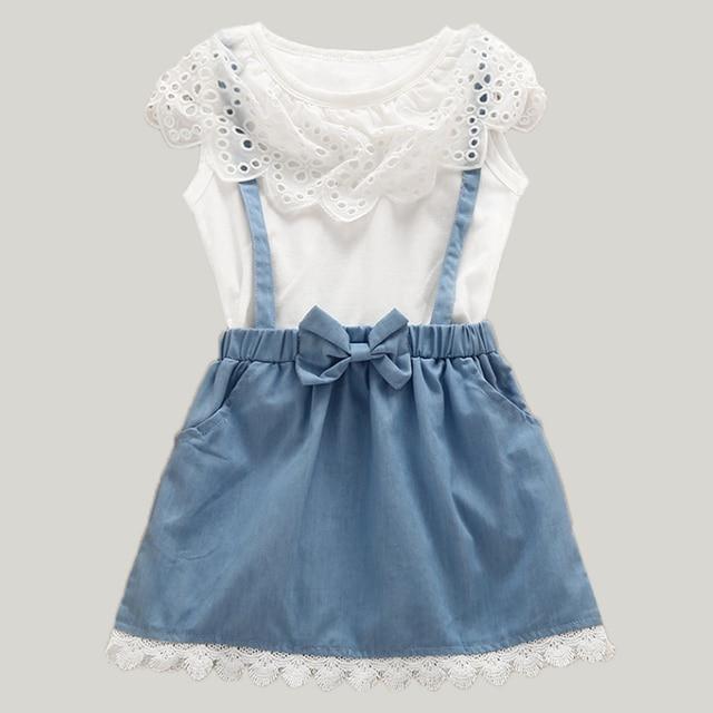 2018 New Girls Dress Girls Cute Dresses White belt Denim Dress Sleeveless  Cotton Summer Sundress Lovely Girls Clothes deaa09574e51