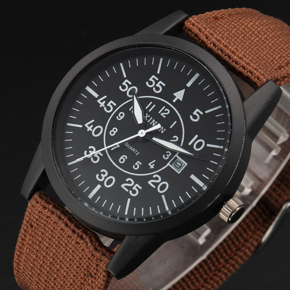 XINEW Watches Grosses Calendar Montre Casual Mens Fashion Original Big Quartz Nylon