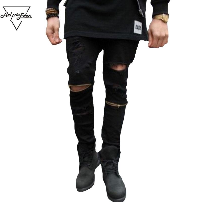 Aelfric Eden EXO New HOT Hole Jeans Gold Zipper White Black Denim Pant Hip Hop Biker Pants Compression Pencil Pants Kanye Denims