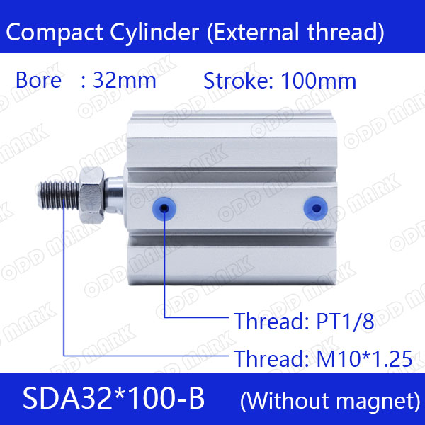 SDA32*100-B Free shipping 32mm Bore 100mm Stroke External thread Compact Air Cylinders Dual Action Air Pneumatic Cylinder cover co167 02