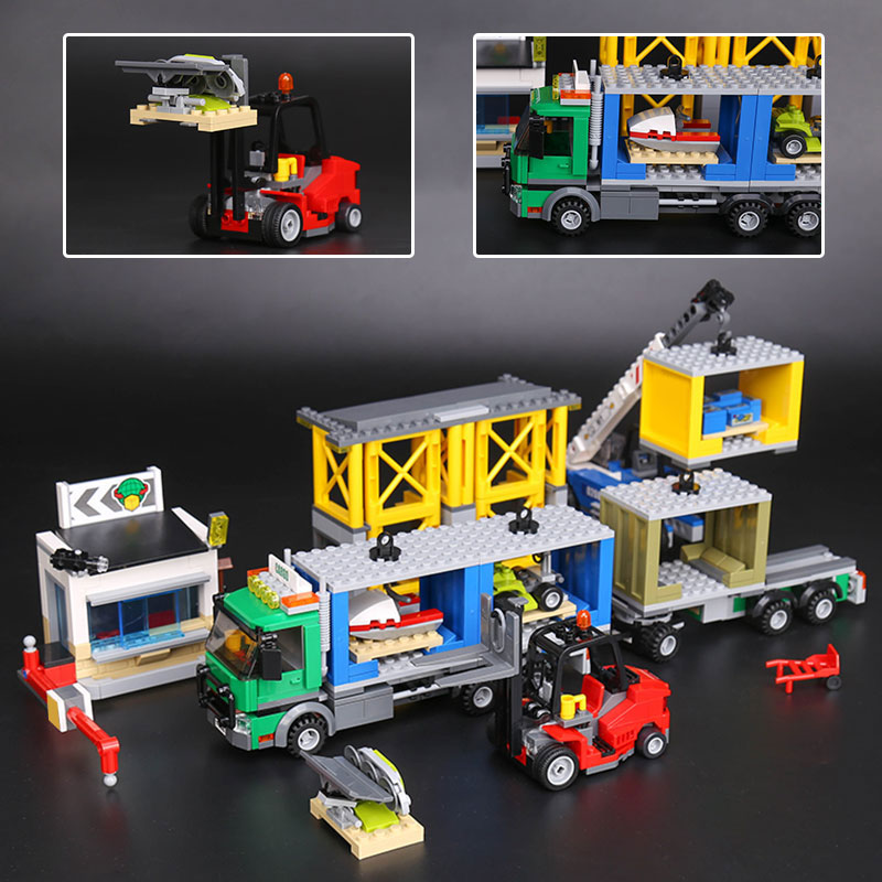 Lepin 02082 Genuine 829Pcs The Cargo Terminal City Series LegoINGly 60169 Model Sets Building Block DIY Bricks Toys For Boy lepin 02008 the cargo train 959pcs city series legoingly 60052 plate sets building nano blocks bricks toys for boy gift