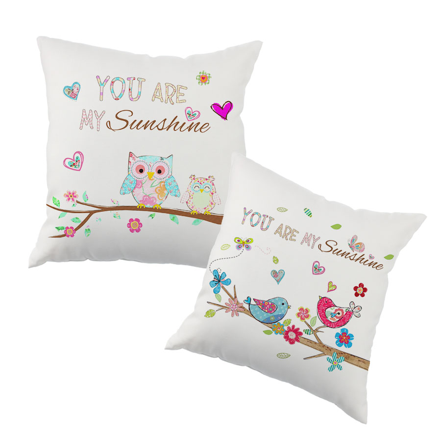 Valentine's Day Gift Home Office Decorative LOVE Printe  Pillow Cove Owl and Bird Printing Cushion cover