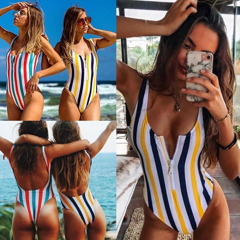 eb4ad89a41 Detail Feedback Questions about Swimsuit Woman 2019 Striped One ...
