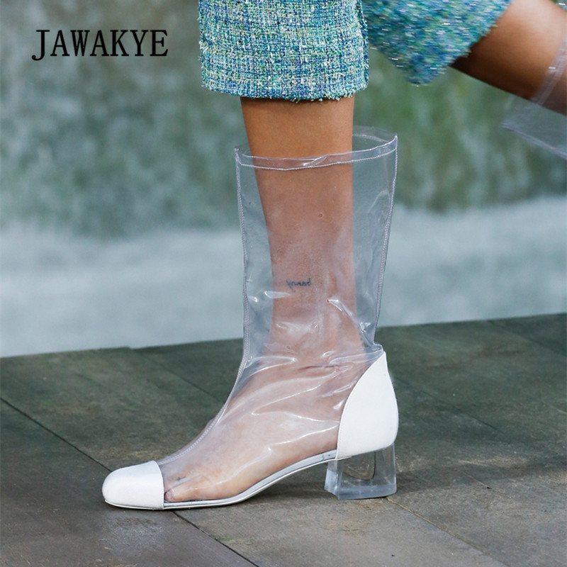 2018 Transparent Shoes Woman Round Toe Patchwork Clear Crystal Heel Long Boots Woman Pvc Ankle Boots new arrival pvc transparent shoes woman open toe clear strange heel pumps woman fashion party shoes