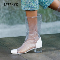 2018 Transparent Shoes Woman Round Toe Patchwork Clear Crystal Heel Long Boots Woman Pvc Ankle Boots