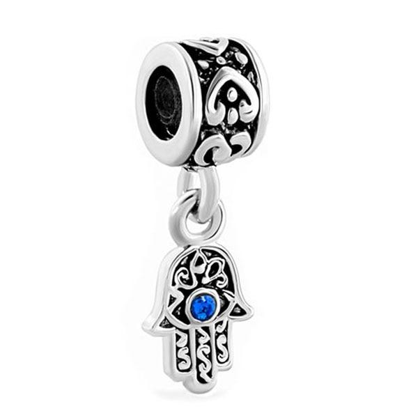 უფასო მიწოდება 1PC Blue Evil Eye Hamsa Fatima Dangle ხიბლი ჩამოკიდებული გულსაკიდი ჯდება Pandora European სამაჯური