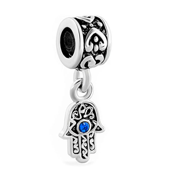 Gratis verzending 1 ST Blue Evil Eye Hamsa Hand van Fatima Dangle Charm Opknoping Hanger Past Pandora Europese Armband