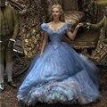 На заказ синий цвет с плеча бабочки бальное платье бисероплетение / блестки 2015 фильм золушка принцесса выпускного вечера