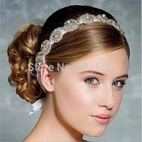 2017 new Wholesale and Retail fashion handmade crystal beads bridal wedding elastic hairband headband hair accessories