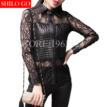 2017 autumn winter fashion women high quality sexy sheepskin mesh yarn three-dimensional lapel lace long-sleeved black shirt 3XL