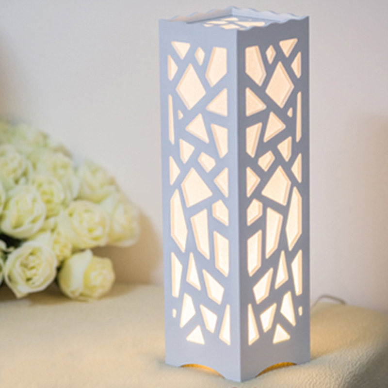 GERUITE Modern Hollow Geometry Pattern Desk Lamp Rectangle Shape Home Bedroom Bedside Table Lamp Wedding Decoration Light vintage rectangle carving pattern hollow out body chain