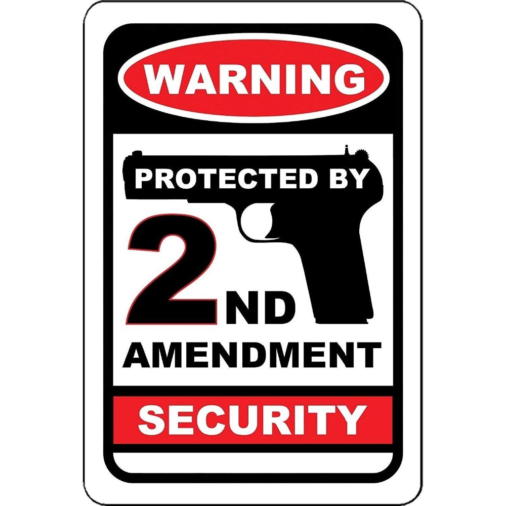 Warning Protected by 2nd Amendment Security No Trespassing Weatherproof Waterproof Street Metal Sign Aluminum Signs 12x18