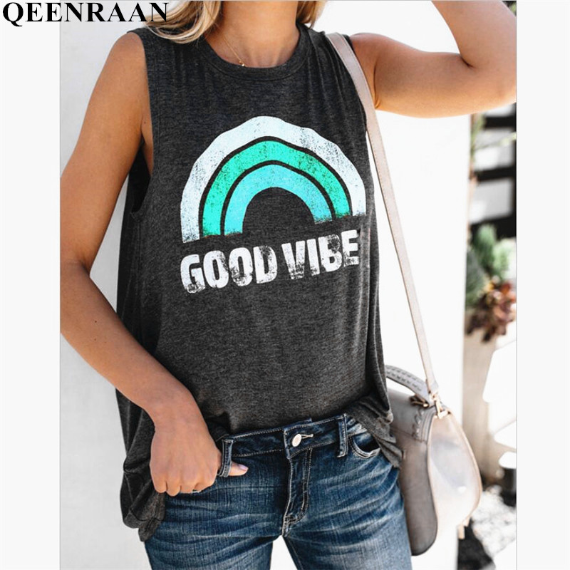 Harajuku Tank Top Womens Summer Rainbow Stripe and Letter GOOD VIBES Printing Aesthetic Women's Graphic Popular Tops Vest Tees