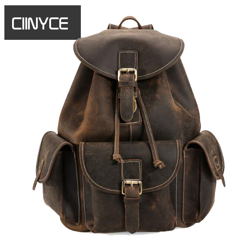 Men Retro crazy horse leather Vintage 15.6 inches Laptop rucksack Thick real Cowhide school Shoulder casual bag Backpacks simline vintage casual crazy horse genuine leather real cowhide men men s travel backpack backpacks shoulder bag bags for man