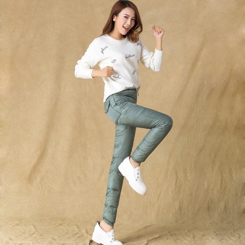 Automne et hiver femmes nouveau 80% canard blanc vers le bas taille haute Slim chaud plume coton épais crayon pantalon TB7839