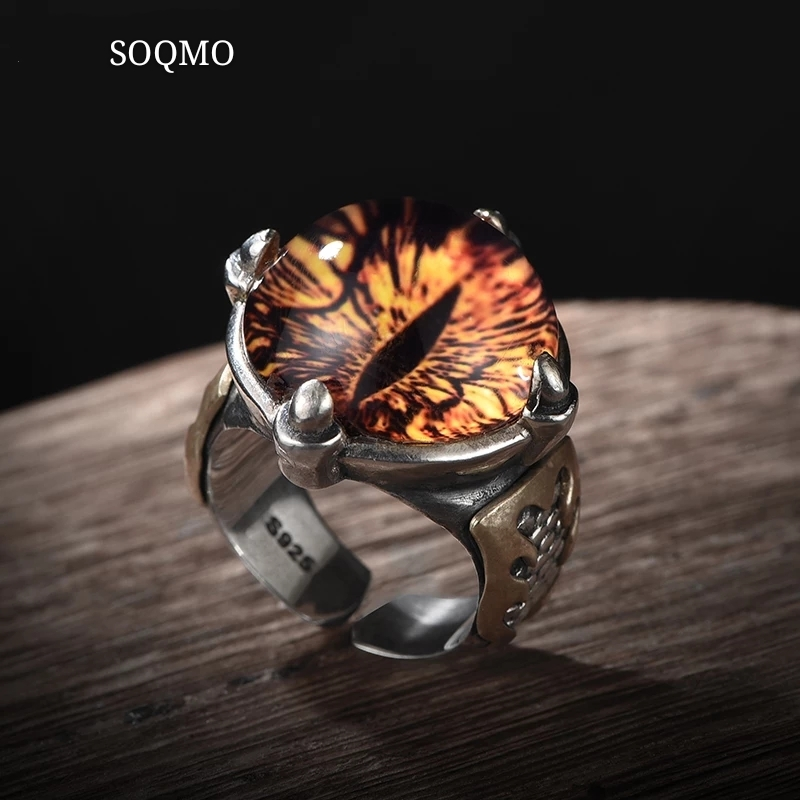 SOQMO 925 Sterling Silver Cool Ghosts Eyes 2 Colors Rose Red Yellow Stone Rings for Men Vintage Gothic Ring Punk Mens Jewelry
