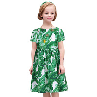 W.L.Monsoon summer gril summer girls in Europe and the United States girls floral high waist green girl summer