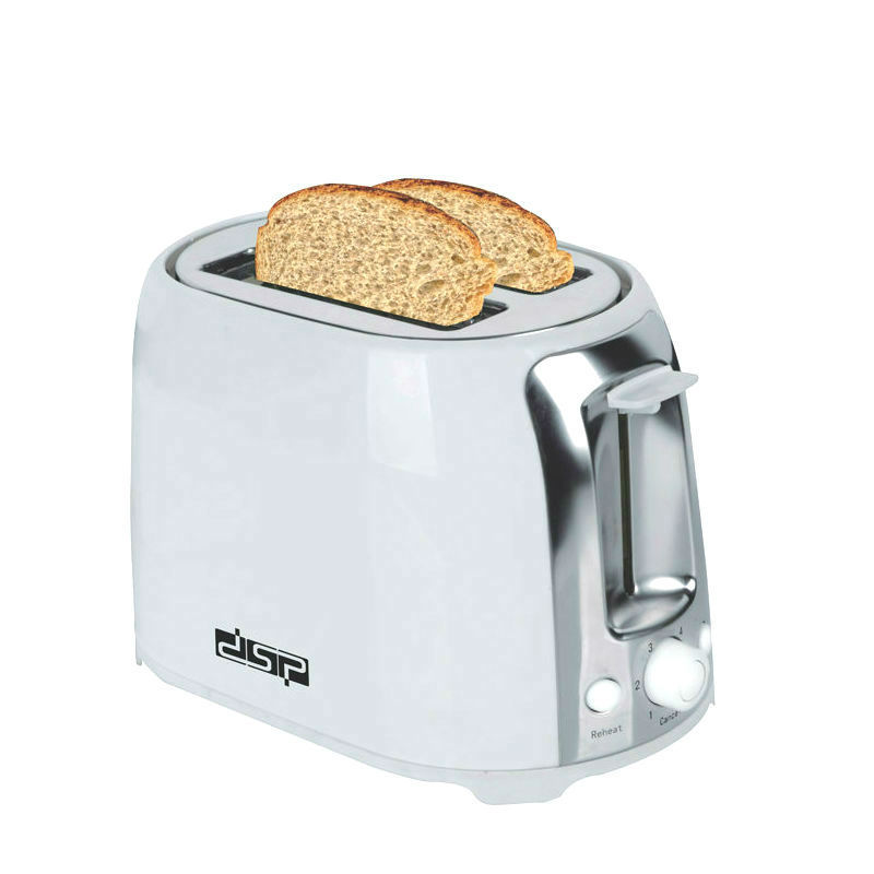 DSP Household Stainless Steel 2 Slice Toasters Bread Toast Machine For Breakfast Quick Baking 6 Temperature Levels