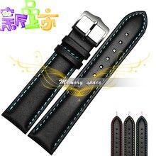2015 nueva oferta 18 19 20 22 mm suave clásico negro de acero correa de cuero hebilla del reloj Band para el reloj mujeres hombres