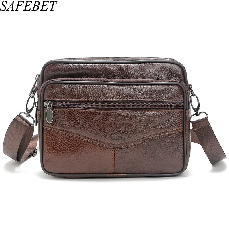 SAFEBET Brand Fashion Multifunctional Genuine Leather Man Bags Casual Men Messenger Bag Design Travel Crossbody Shoulder Bag safebet brand crocodile pattern fashion men shoulder bags high quality pu leather casual messenger bag business men s travel bag