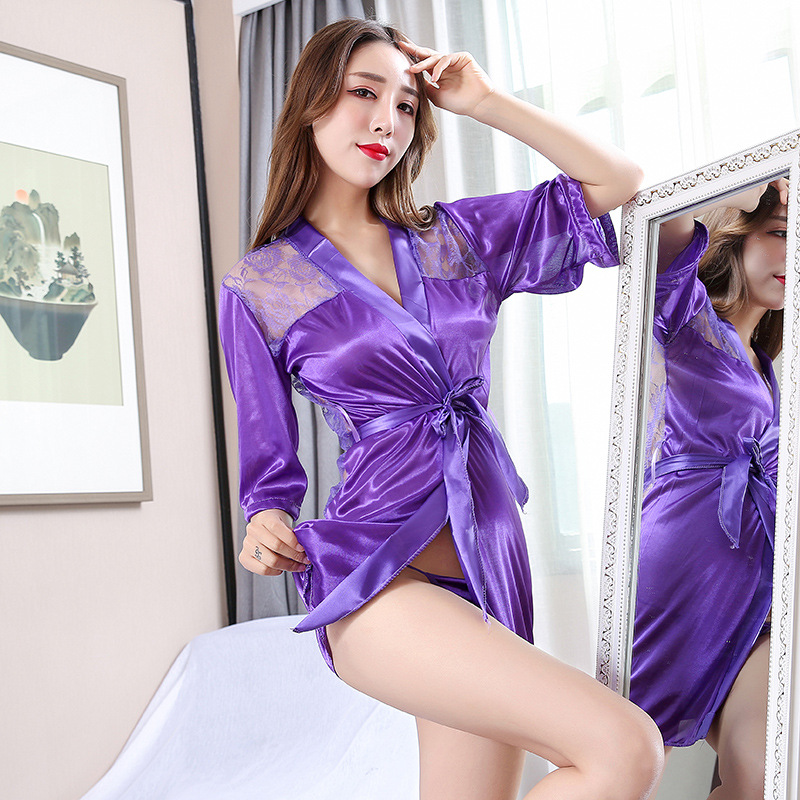 Women Sexy Silk Dressing Babydoll Lace Lingerie Belt Bath Robe Nightwear Women Sexy Nightwear Female Bathrobes