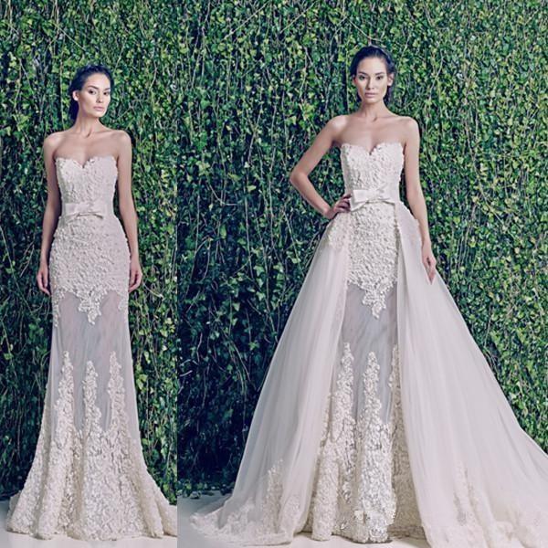 2c8d20e4a0d0f Modest Zuhair Murad 2 Pieces Lace Wedding Dresses Detachable Train Removable  Skirts Applique Vintage Plus Size Bridal Gowns 2016. Price: