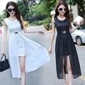 Sem mangas verão dress mulheres vestidos de chiffon bodycon dress cor sólida do vintage elegante da festa vestidos vestidos 2 peça set