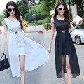 Sin mangas del verano dress gasa de las mujeres vestidos de bodycon dress color sólido elegante de la vendimia vestidos de fiesta vestidos 2 unidades set