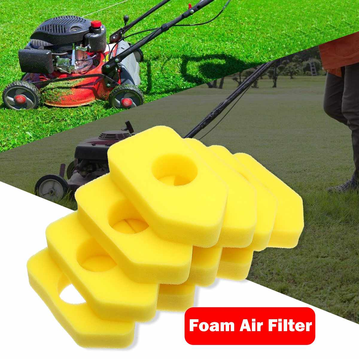 10x Yellow Foam Air Filter For Briggs & Stratton 698369 4216 5088 490-200-0011 Lawn Mower Air Filter Element