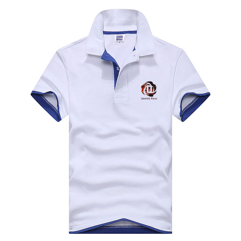 New Men's   Polo   Shirt ForThe left breast printing DERRICK ROSE Men   Polos   Men Cotton Short Sleeve shirt Clothes jerseys golftennis