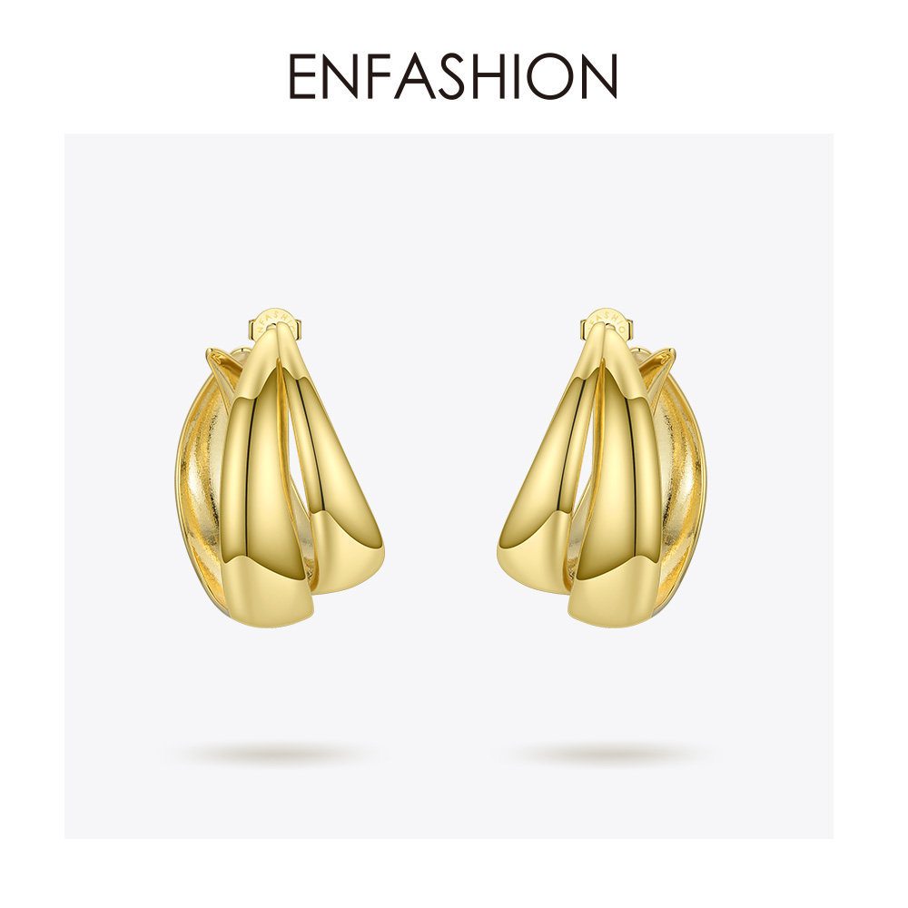 ENFASHION Punk Double C Hoop Earrings For Women Big Geometric Curve Circle Round Hoops Earings Statement Jewelry Aros EC191043