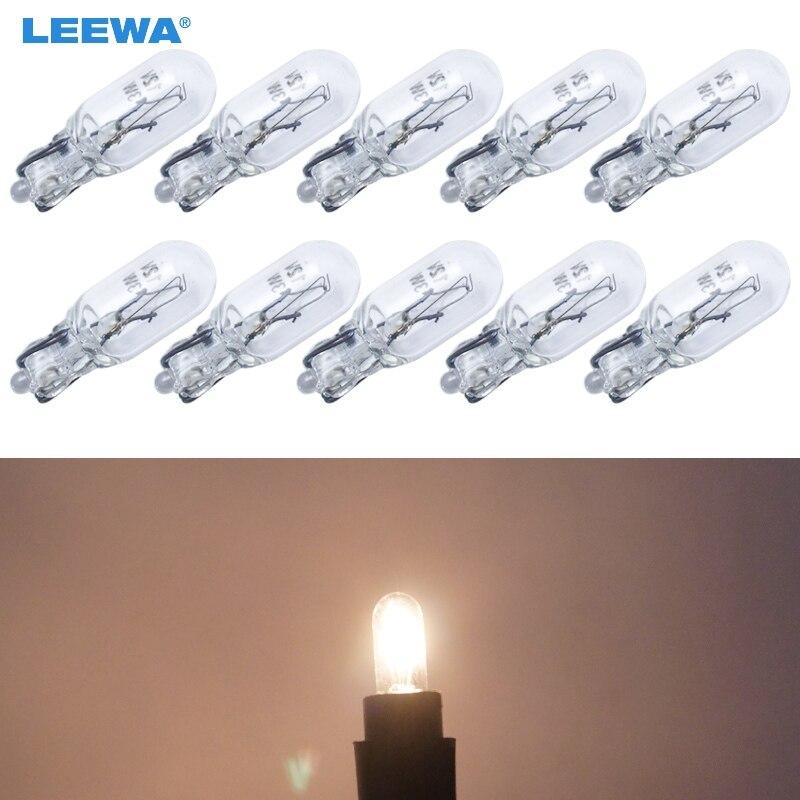 LEEWA 10 шт теплый белый автомобиль T6.5 12V 3W Клин галогенная лампа внешняя галогенная лампа замена приборной панели лампа # CA1316