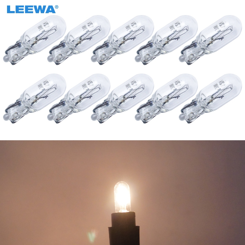 LEEWA 10pcs Warm White Car T6.5 12V 3W Wedge Halogen Bulb External Halogen Lamp Replacement Dashboard Bulb Light #CA1316