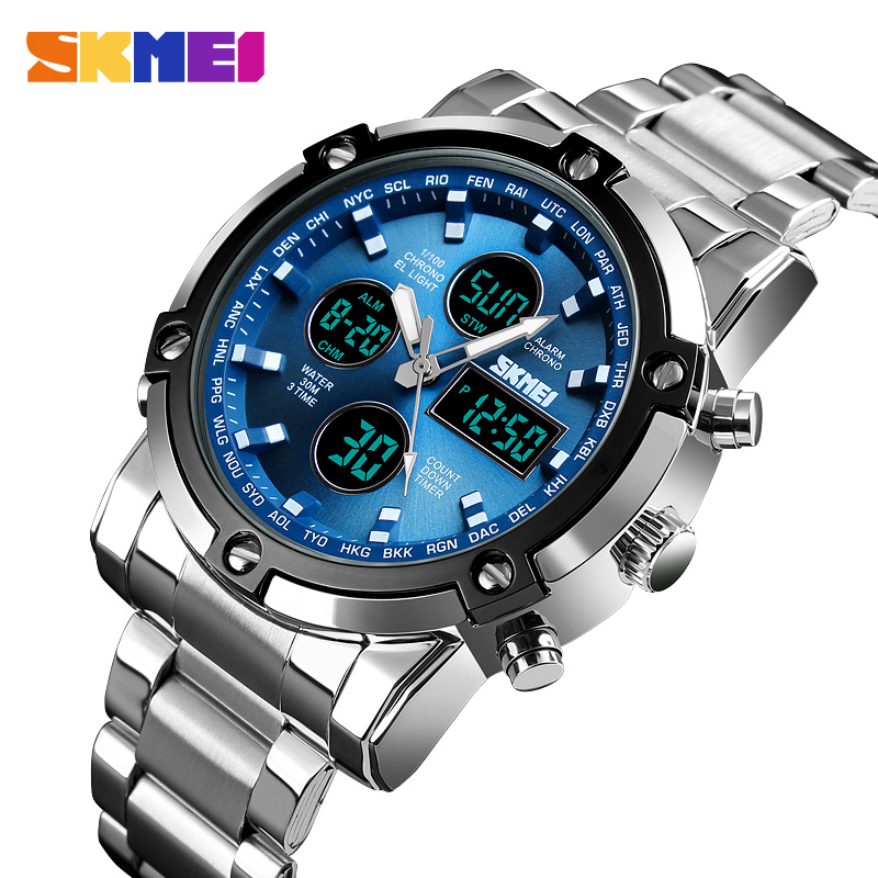 <font><b>SKMEI</b></font> Digital Watch Men Dual Display Quartz Wristwatches Men Stainless Steel Strap Luxury Military Men Watch Relogio Masculino image