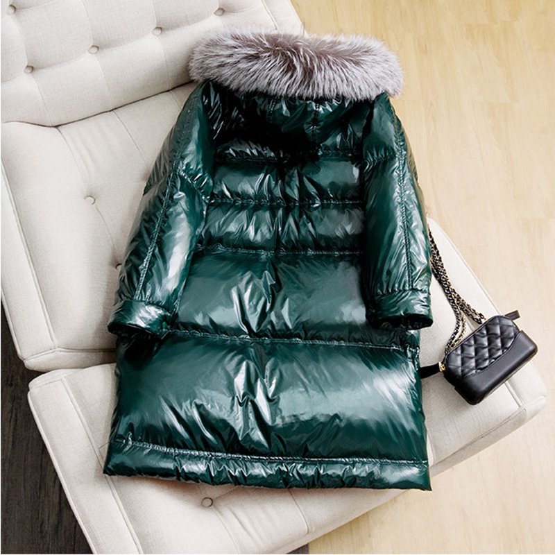 Oversize Silver Fox Fur Collar Warm   Down   Jacket   Coats   Thickening Women Winter Parka   Coats   Long Outwear Snow Wear Goose   Down     Coat