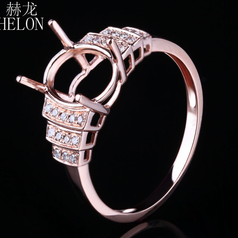 HELON Oval 7X9mm Setting Solid 10K Rose Gold Natural Diamonds Semi Mount Engagement Wedding Ring for Women's Fine Jewelry Ring vintage oval 7x9mm solid 18kt white gold diamond semi mount pendant wholesale fine jewelry for girl wp025
