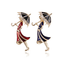 Rinhoo 2 Colors Girl Wearing Umbrella Brooches for Enamel Cartoon Brooch Pins New Fashion Jewelry Accessories Broach(China)