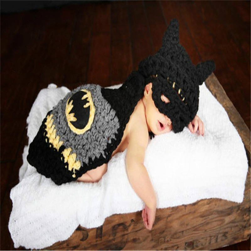 Hot Sale Crochet Baby Photography Props Knitted Baby Batman Costume For Photo Shoot Infant Crochet Baby Hat Photo Props