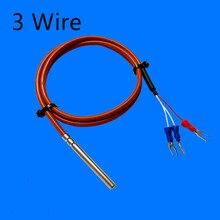 PT100 датчик температуры RTD 5*50 датчик мм 3 провода 1-5 м силиконовый гелевый Платиновый резистор водонепроницаемый маслостойкий корпус