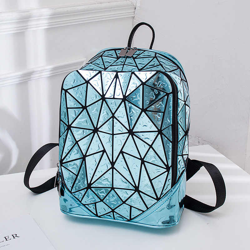 Luminous เรขาคณิตเลื่อมหญิงกระเป๋าเป้สะพายหลังแล็ปท็อปกระเป๋าเป้สะพายหลังกระเป๋าหนังสือโรงเรียน Casual Rucksack Daypack กระเป๋าเป้สะพายหลังผู้หญิง