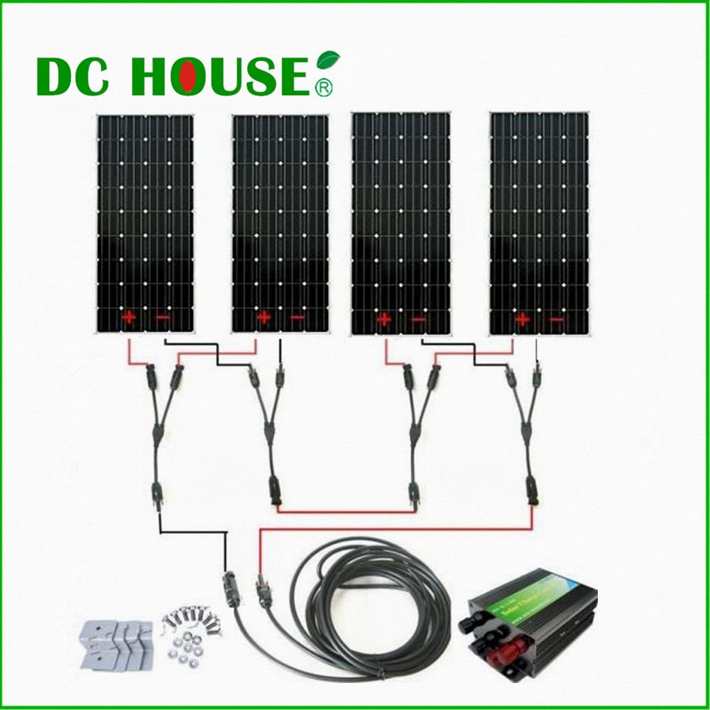 600Watts COMPLETE KIT: 600W Photovoltaic Solar Panel 24V system RV Boat 4*150W *solar panel system 300w solar system complete kit 3pcs 100w photovoltaic pv solar panel system solar module for rv boat car home solar system