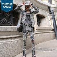 High Street ropa mujer 2019 серый лоскутный короткий жакет с длинными рукавами рваные джинсовые брюки женский комплект из 2 предметов одежда в стиле хип