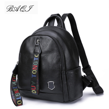 купить BAQI Women Backpack Genuine Leather Cowhide Girls School Bags 2019 Fashion Shoulder Bag Mochila Women Travel Bag Casual Backpack по цене 2540.93 рублей