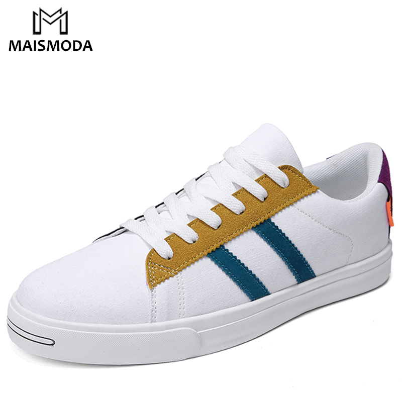 MAISMODA Summer Fashion Men Canvas White Shoes Artistic Youth Classic Lace-Up Shoes Men Breathable Student Shoes YL138