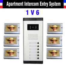 Apartment Intercom System 7 Inch Monitor 6 Units apartment video door phone intercom system Video Intercom DoorBell kit