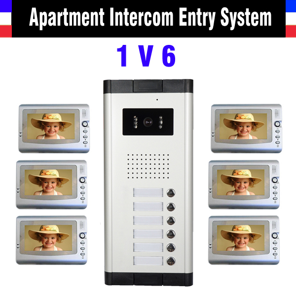 Apartment Intercom System 7 Inch Monitor 6 Units apartment video door phone intercom system Video Intercom DoorBell kit apartment intercom system 7 inch monitor video door intercom doorbell kit 8 units apartment video door phone interphone system