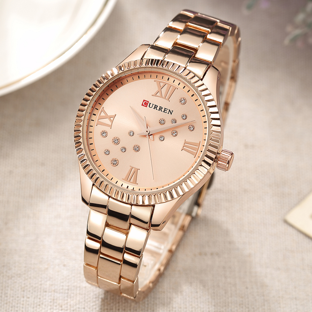 CURREN Women's Watches Brand Luxury Fashion Ladies Watch Woman Watch 2019 Rose Gold Women's Watches Bayan Kol Saati Fashion(China)